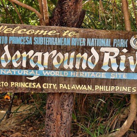 Underground River Park entrance sign