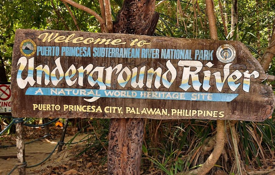 Underground River Park entrance sign